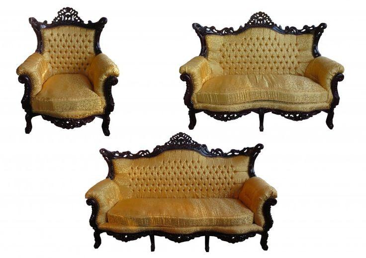 Casa Padrino Barock Wohnzimmer Set Master Gold Muster / Mahagoni Braun    3er Sofa + 2er Sofa + 1 Sessel