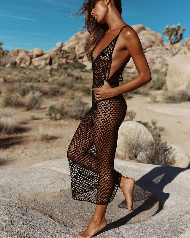 Women Summer Beachwear Mesh Bikini Cover Up Boho Swimwear Ladies One Piece Dress