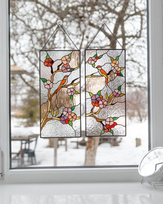 Sakura Stained Gl Panel Anese Wall Art Mothers Day Gift Custom Bird Window Han