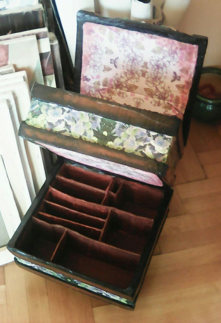 Handmade make up case, fully opened