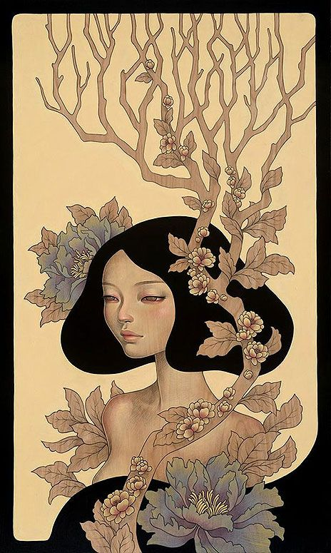 First Look: Audrey Kawasaki's Gorgeous Wood Panel Paintings - My Modern Metropolis