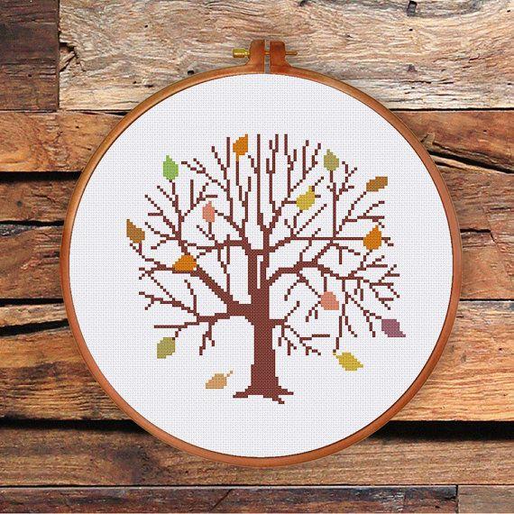 Autumn Tree cross stitch pattern modern cross by ThuHaDesign