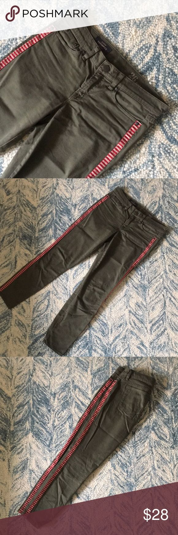J. Crew Olive Green Tuxedo Stripe Pants Super cool olive green pants with red tuxedo stripes down the leg. Can be dressed up or down - looks especially great with a denim shirt and red heels! EUC, just wrinkled from my closet 😉 J. Crew Pants