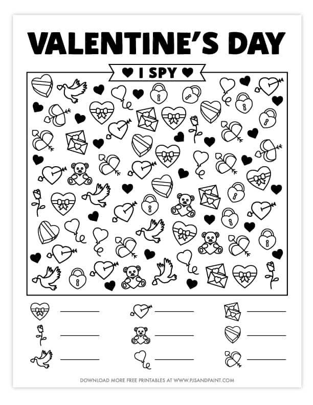 Valentine S Day I Spy Free Printable Valentine S Day Games And Activities Valentines Printables Free Kindergarten Valentines Valentines Day Activities Free printable valentine worksheets for