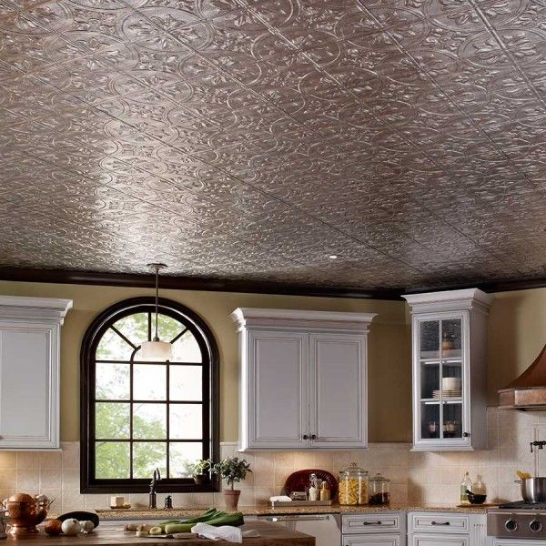 Fasade Ceiling Tile 2x4 Direct Apply Traditional 2 In Crosshatch Silver Ceiling Tile Ceiling Tiles Traditional Interior Design