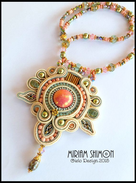 ON SALE Soutache Pendant Necklace in Cream Salmon by MiriamShimon