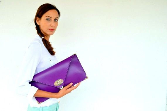 Leather clutch / Handmade purple leather bag by AnaKoutsi on Etsy https://www.etsy.com/listing/202574609/leather-clutch-handmade-purple-leather