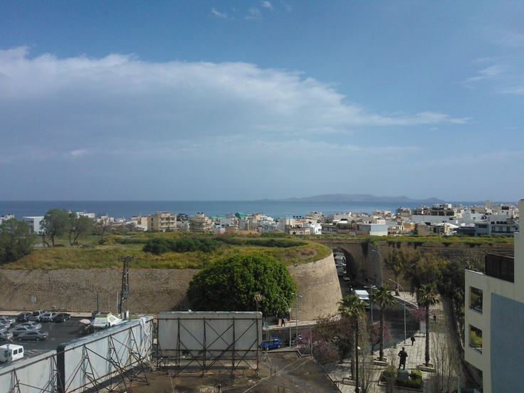 Heraklion Crete, seaview from home balcony... You can see the old city wall and morning blue sky