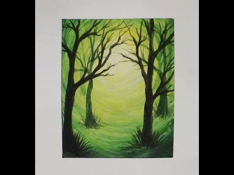 Easy oil painting for beginners misty forest wet on wet for Watercolor scenes beginners