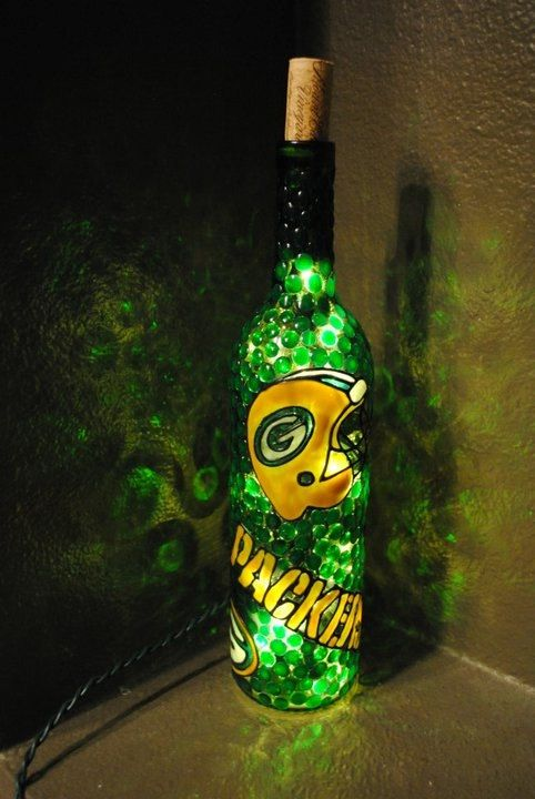 Green Bay Packers Lighted Wine Bottle by WineNotBottles on Etsy