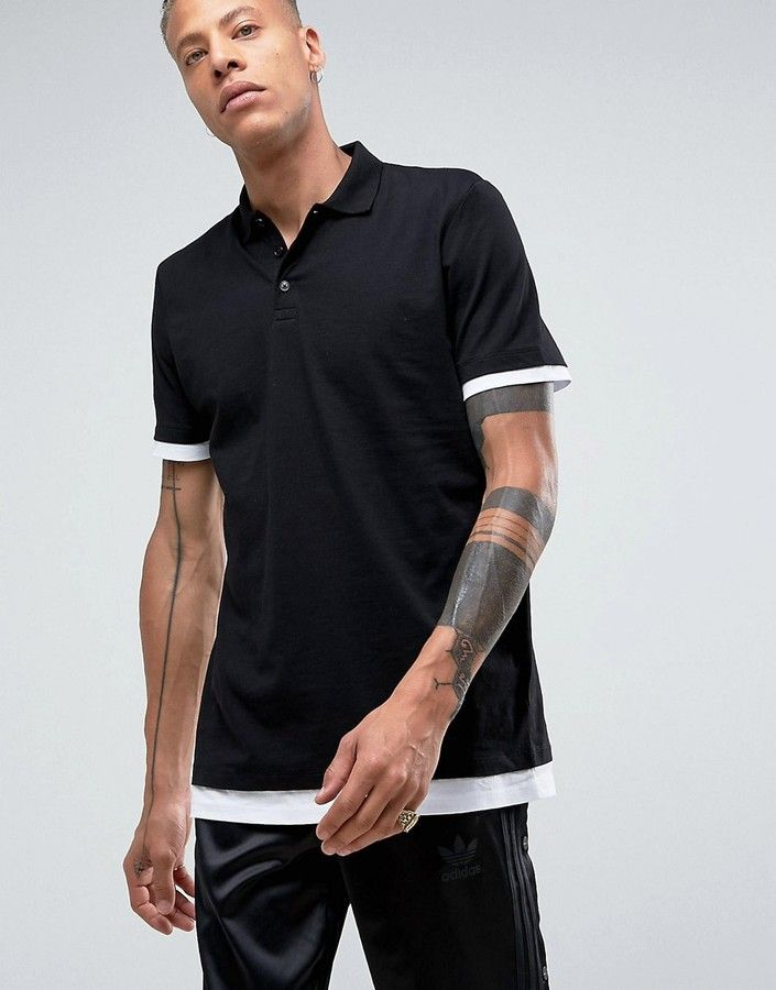 Asos Longline Polo Shirt With Contrast Cuff And Hem Extender In Black/White