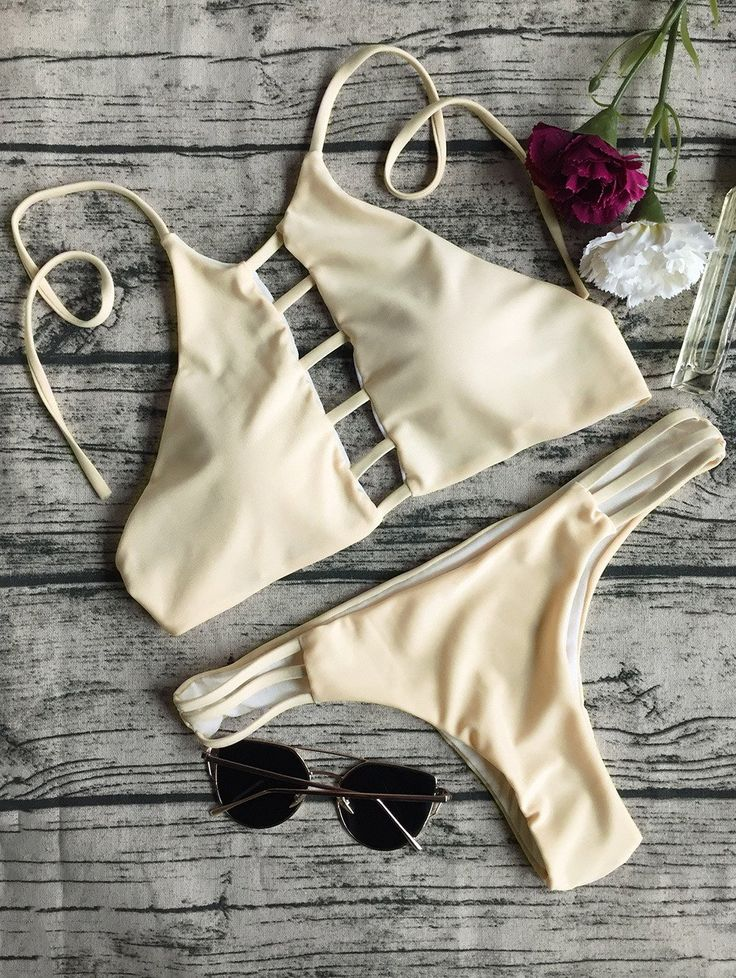 String Cut Out Bikini Set - APRICOT S