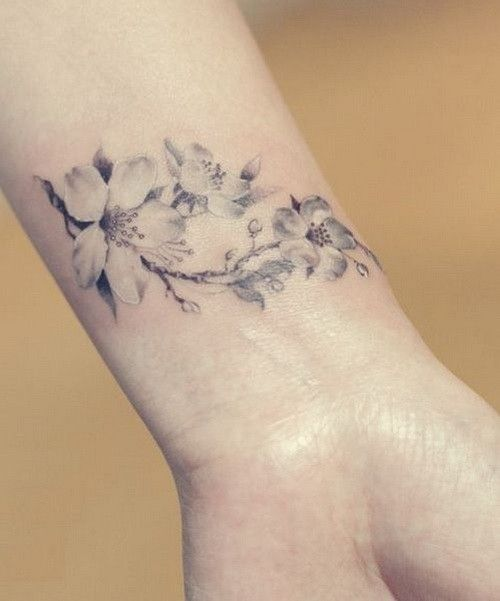 Elegant Uncolored Cherry Blossom Tattoo For Women On Wrist