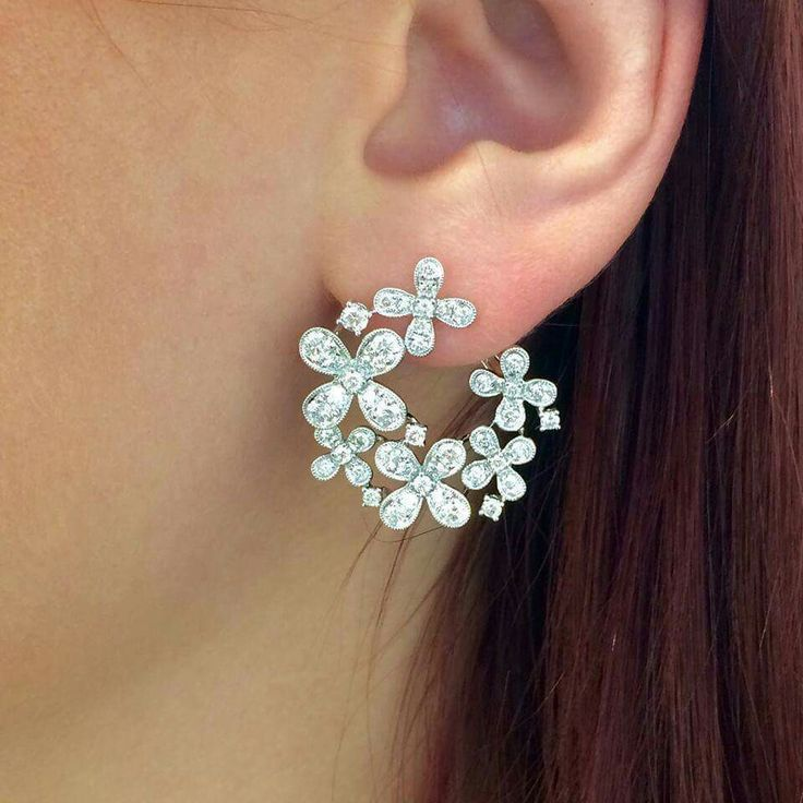 floral wreathe style diamond earrings