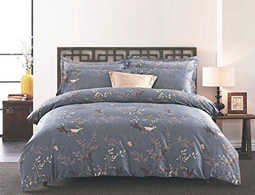 3 Piece Duvet Cover and Pillow Shams Bedding Set Soft Microfiber Printed Design (King Size Gray)
