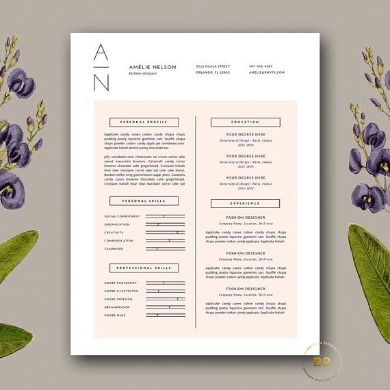 Resume Template | Professional Resume + Cover Letter for MS Word and Pages | Modern and Clean Resume Design | Blush Pink | Instant Download