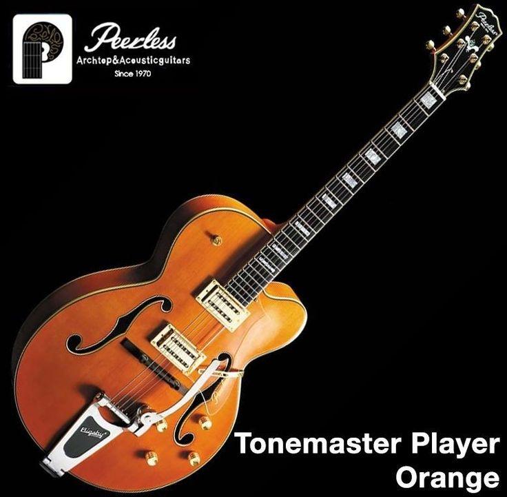 Peerless Tonemaster Player Hollow Body Carved Jazz Electric Guitar Orange #Peerless