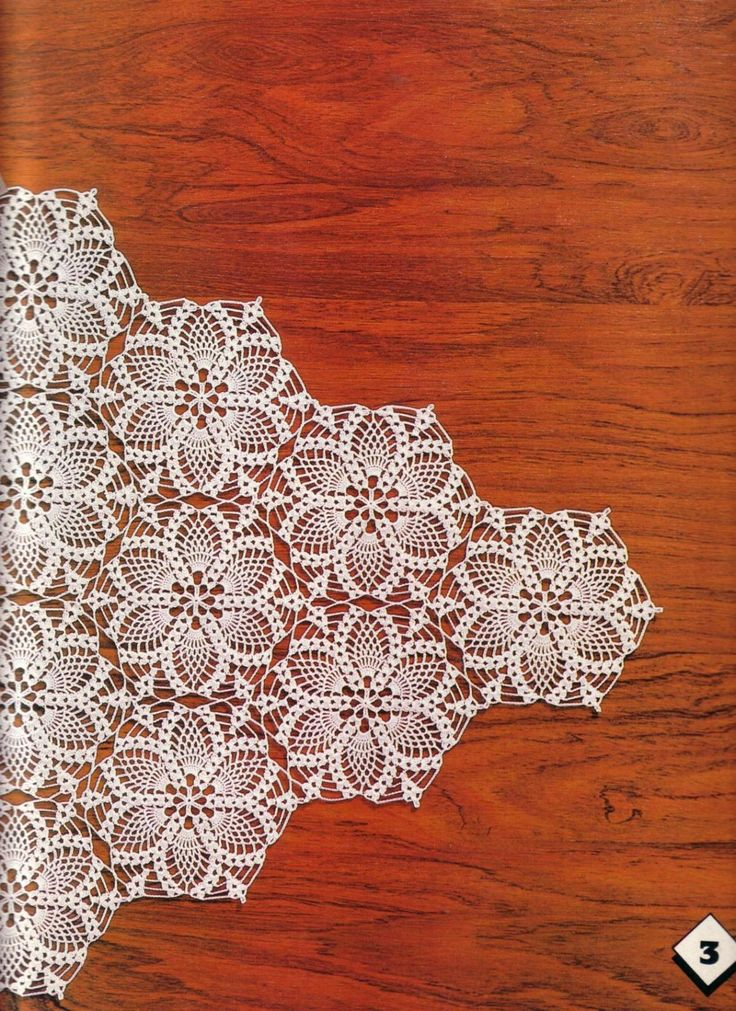Pineapple Motifs For Napkin And Tablecloth. Crochet MotifCrochet Tablecloth  PatternCrochet RoundCrochet ...