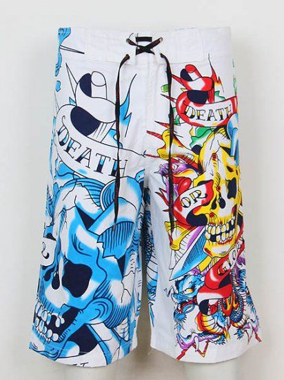 Ed Hardy Mens beach pants in 722 white