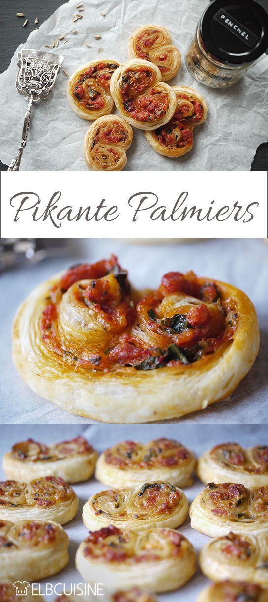 Palmiers oder Blätterteigschnecken – mit Blätterteig gebacken, mit Salsiccia, eingelegter Paprika, Rukkola, Parmesan und Pinienkernen. Einfach himmlisch!