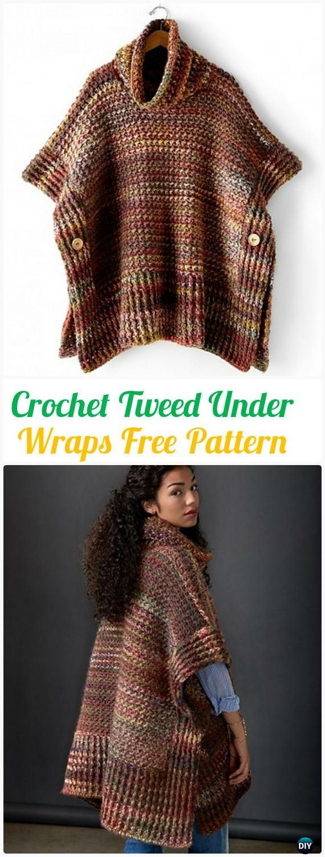 Crochet Tweed Under Wraps Free Pattern - Crochet Women Pullover Sweater Free Patterns