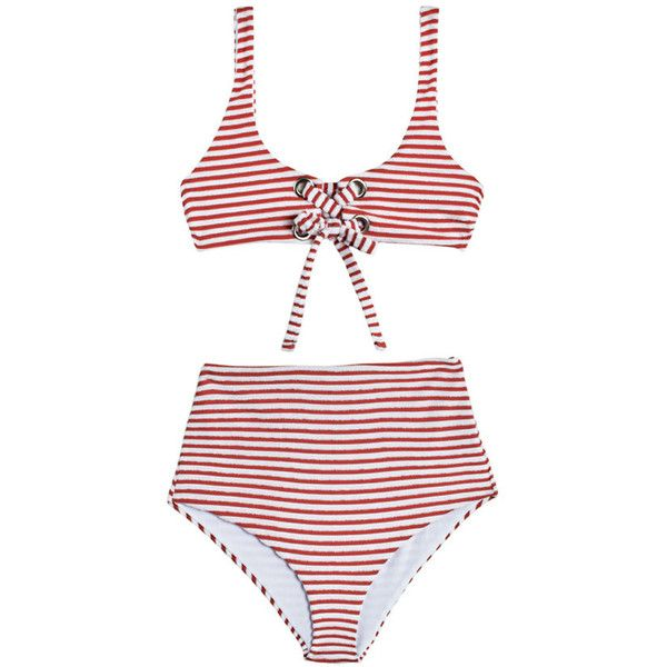 Terry Striped Lace Up Cami Bikini (£220) ❤ liked on Polyvore featuring swimwear, bikinis, lace up corset, high waisted swim suit, stripe bikini, highwaisted swimsuits and high waisted bikini swimwear