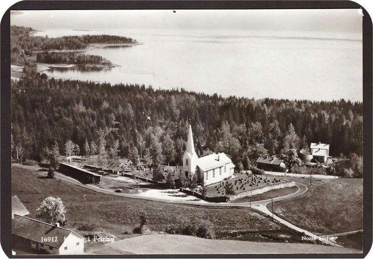 Feiring i Eidsvoll kommune Kirken. Utg Norsk Flyfoto