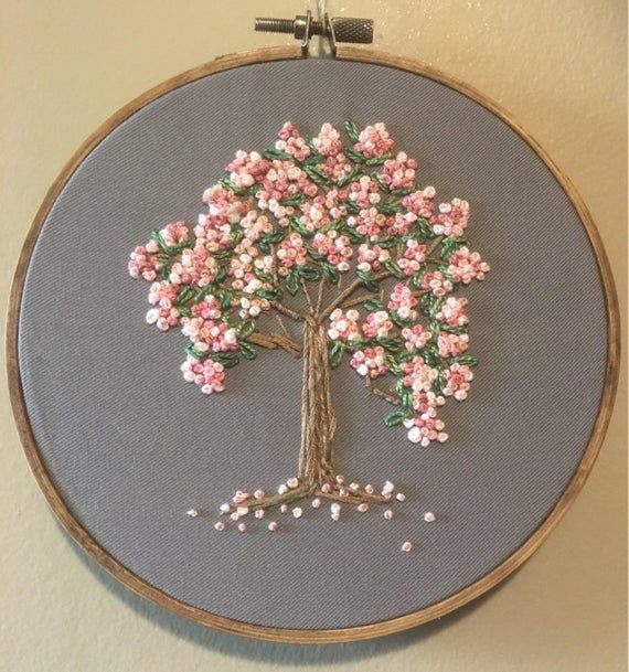 Embroidery Hoop Hand Embroidered Cherry Tree In Full Bloom Original Design Created Embroidery Hoop Nursery Hand Embroidery Flowers Sewing Embroidery Designs