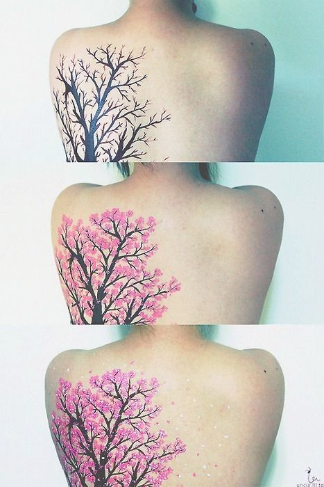 I'm honestly not sure if this is real or not, there are certain things in the last picture that I'm not sure how a tattoo artist would have pulled it off. But, if it is real, this is one of the best cherry blossom tattoos I've ever seen.