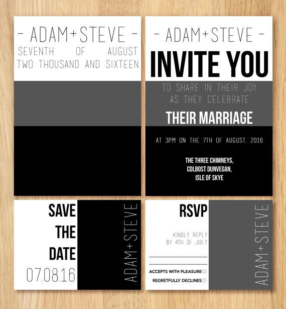 Gay Wedding Invitation Stationery SAMPLE Set