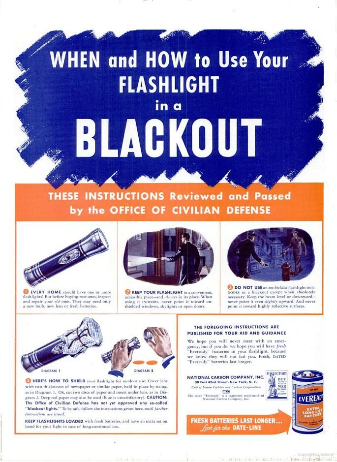 American poster, Office of Civilian Defense, 1942: When and How to Use your Flashlight in a Blackout