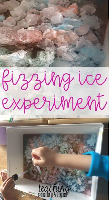 Fizzing ice is a simple science experiment for kids. We use it as a fun provocation to keep our kindergarten students engaged in fun science experiments.
