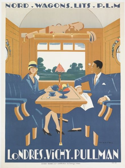 French vintage Poster. Londres-Vichy-Pullman