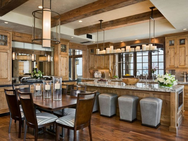.: Beautiful Kitchens, Dreams Kitchens, Lights Fixtures, Contemporary Kitchens, Candles, Interiors Design, Rustic Kitchens, Chalets, Wood Beams
