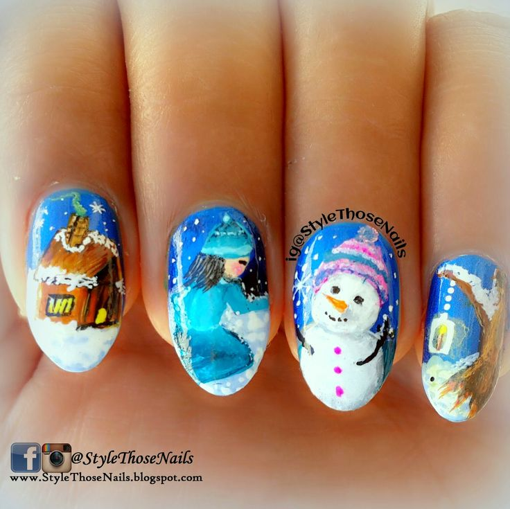 Do You Wanna Build a Snowman? - Snowman Nailart for Winter Nail Challenge #winternails