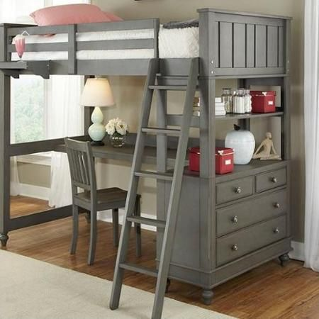 70 in. Twin Loft Bed with Desk