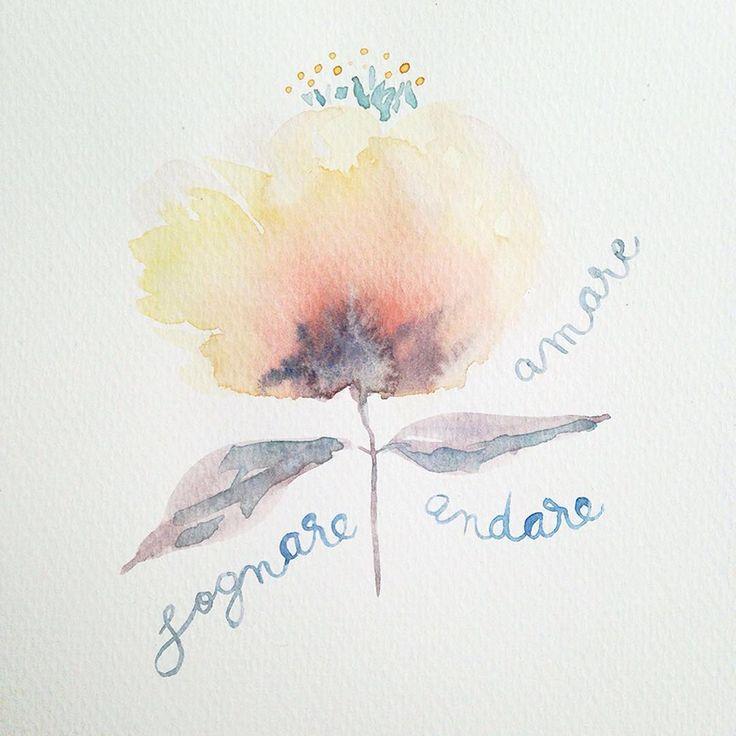 Fiori immaginari. Amare, sognare, andare... ⠀Watercolor by Irene Zuccarello⠀  ⠀
