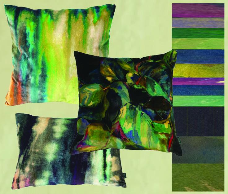 Boeme's Cushion Palette Folia NEW! Tambora Olive and Aurora Noir www.boeme.co.uk