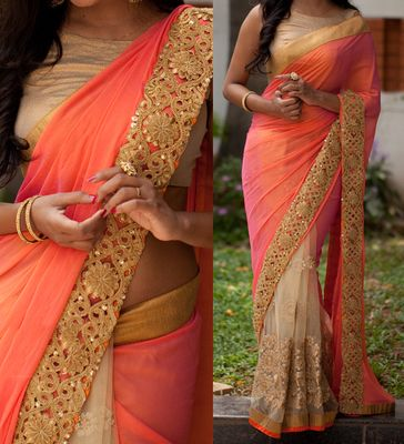 NEW LATEST PEACH COLOR CN SILK & NYLONE NET EMBROIDERY WORK SAREE Sarees on Shimply.com