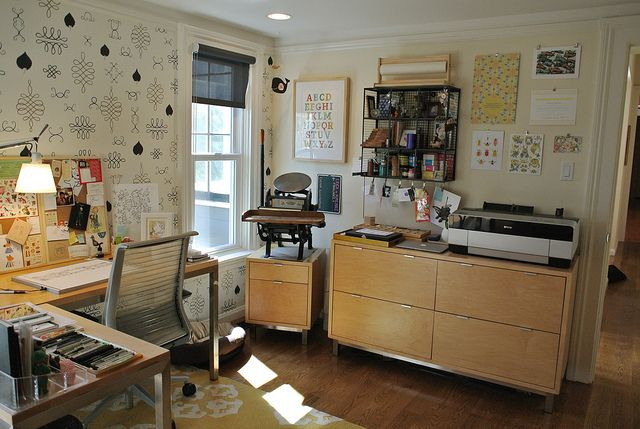 cuddlefish office...bright and open, I dream of a little handpress by a window!
