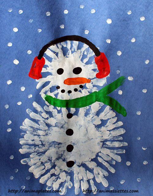 Bonhomme de neige avec la peinture au doigt                                                                                                                                                                                 Plus