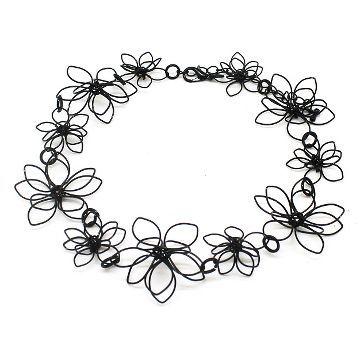 Women's Metal Flower Choker Necklace - Black