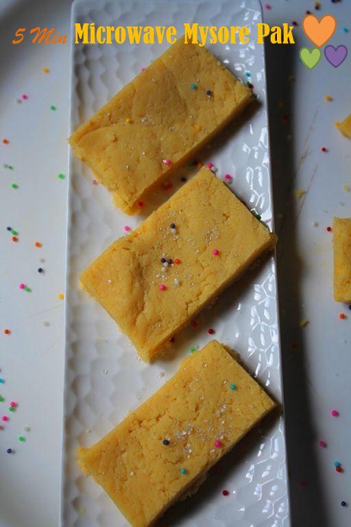5 Mins Microwave Mysore Pak Recipe / Microwave Mysore Pak Recipe Besan/Gram =Chickpea Flour