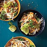 Classic Pad Thai Recipe | MyRecipes.com  Substitute: hoisin for fish sauce.  Add: celery and bok choi for texture, garlic nuts for zest.  Make less of vinegar mix