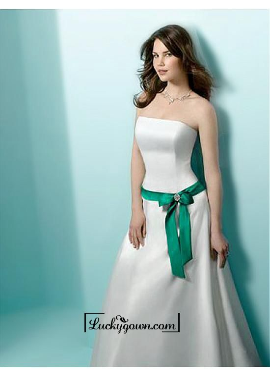 Buy An Elegant Satin Strapless A-line Wedding Dress Online Dress Store At LuckyGown.com