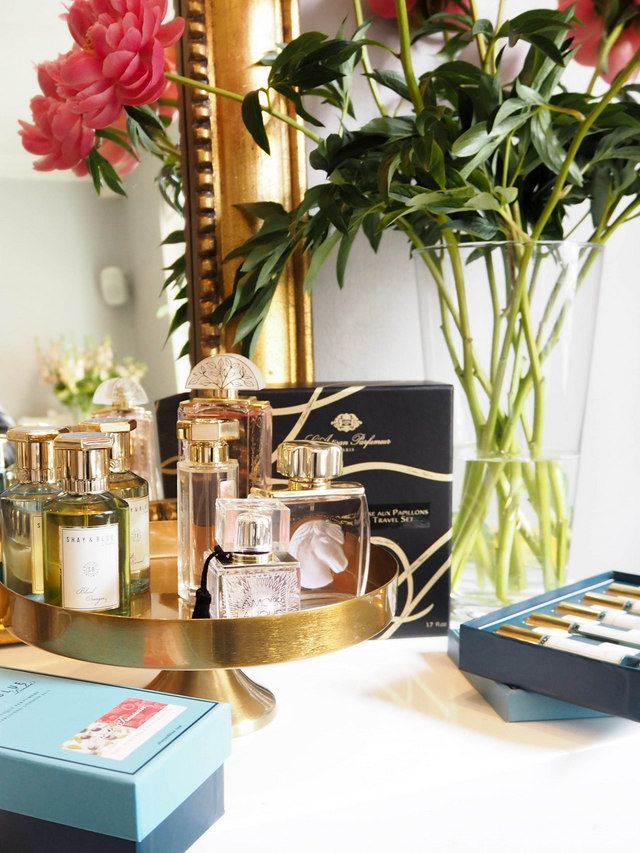 How to arrange your perfumes on a dressing table using a bronze can tin - Seen at the QVC UK AW15 Press Day