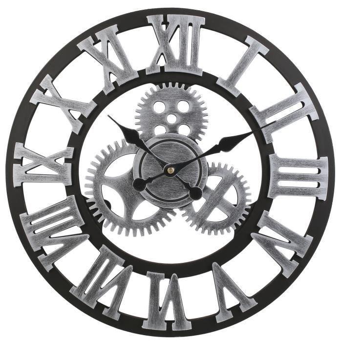 Yolistar Horloge Murale Vintage 45cm 17 7 Europeenne Handmade 3d Engrenage Decoratif En Bois Horloge Murale Couleur Argent En 2020 Horloge Murale Horloge Murale Vintage Horloge Murale Geante