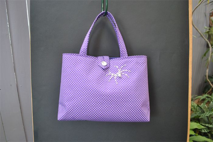 Stella - ladies purple polka dot bag with beaded spider | Witching Hour | madeit.com.au