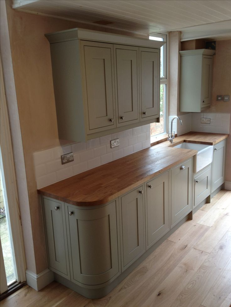 Sage Green Kitchen Benchmarx Range With Treated Oak Work Surface And Belfast Sink