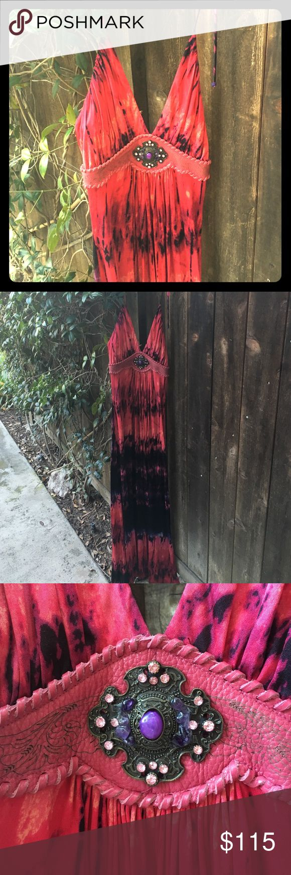 Sky maxi tie dye leather stones long dress M Fantastic dress in excellent condition. Tie dye boho maxi dress. Shoulder tie halter Style. Size M. Please take a look at my other Sky listings for an awesome bundle discount:) Sky Dresses Maxi